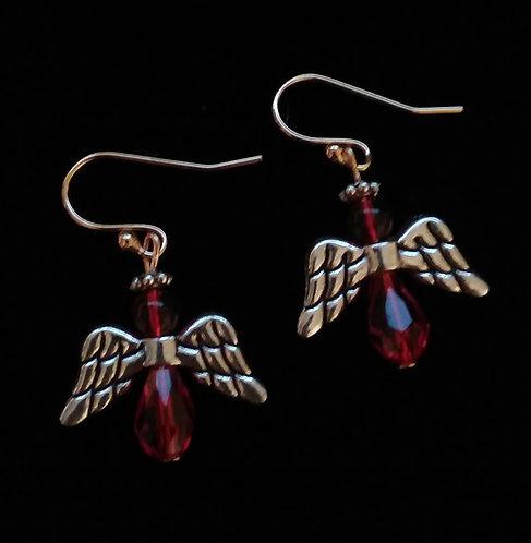 Angel Wing Earrings - Red