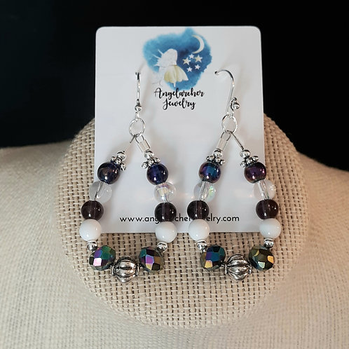 Teardrop Loop Earrings - Purple Faceted