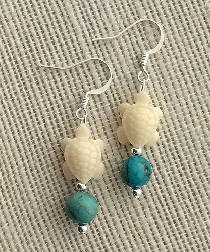 Turquoise Imperial Jasper Turtle Earrings