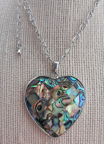 Abalone Heart Pendant Necklace