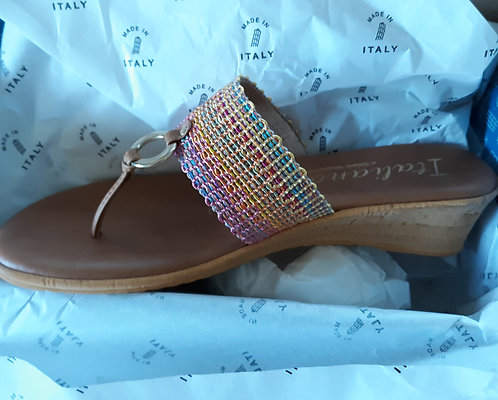 Leather Sandal w/Multi-Color Band - Sz 8