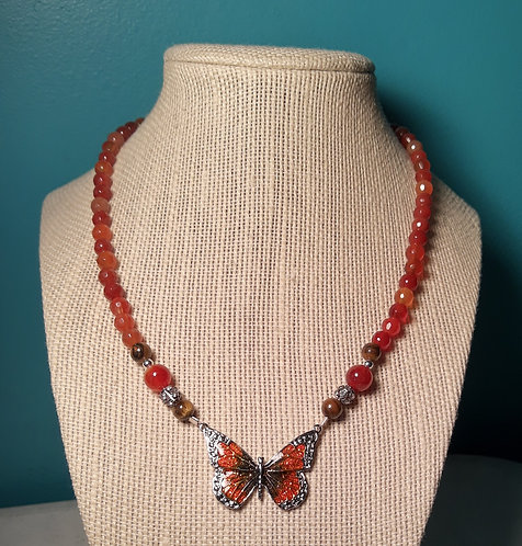 Butterfly Pendant Necklace - Orange & Brown