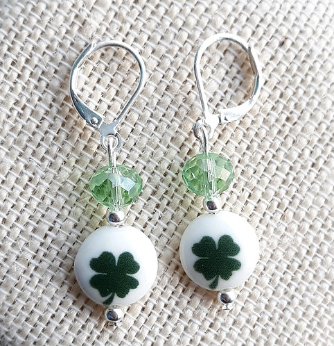 Four-Leaf Clover Earrings w/Light Green Faceted Glass