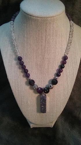 Purple Druzy Stone Necklace