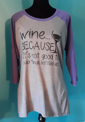 Wine Baseball Tee - Gray w/Purple