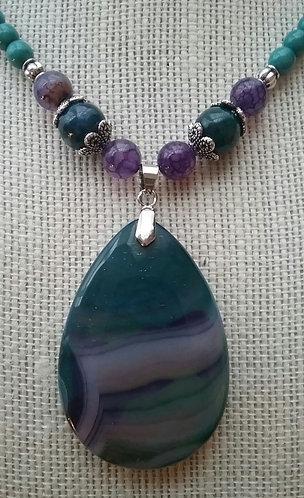 Teal & Purple Agate Teardrop Necklace