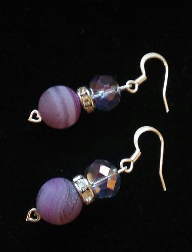 Purple Dyed Agate Stone Earrings