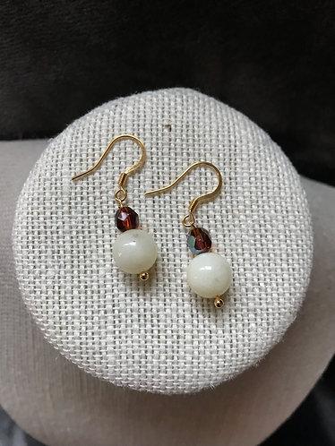 White Dyed Quartzite Earrings
