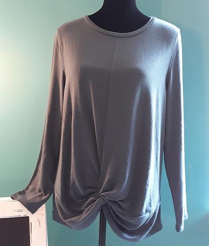 Twist-Front Long-Sleeve Top - Medium Blue