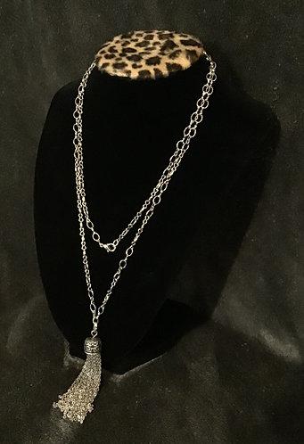 Antique Silvertone Tassel Chain Necklace