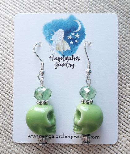 Light Green Faceted Skull Earrings
