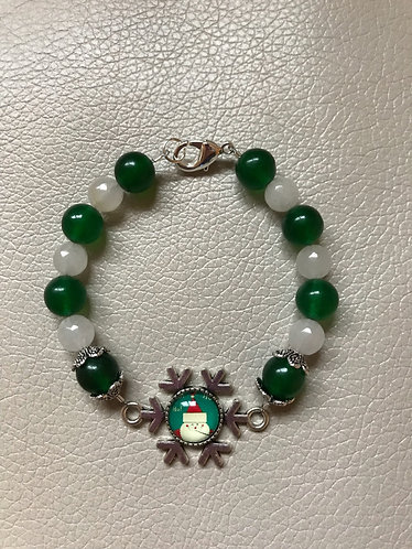 Snowflake Santa Bracelet - Green stone