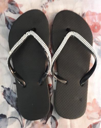 Black Rhinestone Flip Flops