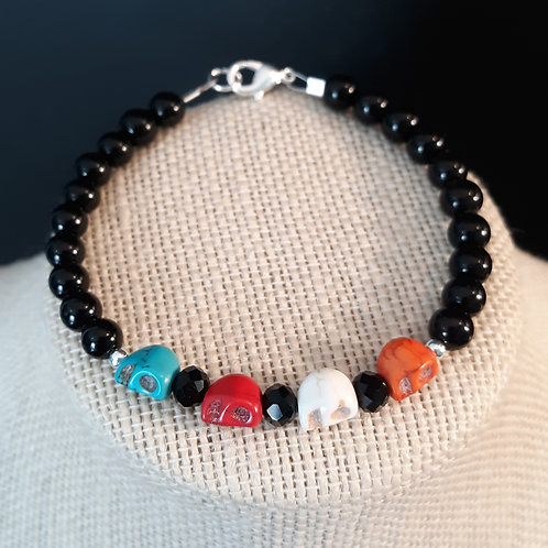 Mini Skull Bracelet - Lt Blue, Red, White & Orange