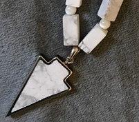White Howlite Arrowhead Necklace
