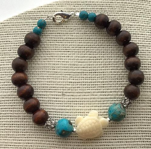 Wood Bead Bracelet w/Turtle & Turquoise Imperial Jasper