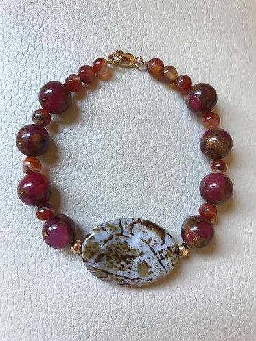 Amber Crackle Agate Bracelet
