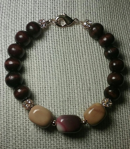 Wood Bead Bracelet w/Yellow Jasper