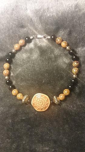 Tan Aztec Sun Bead Bracelet