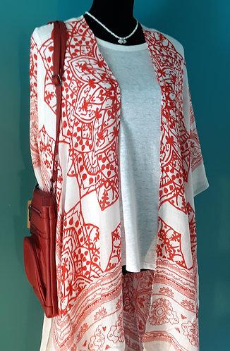 Red Fringe Kimono