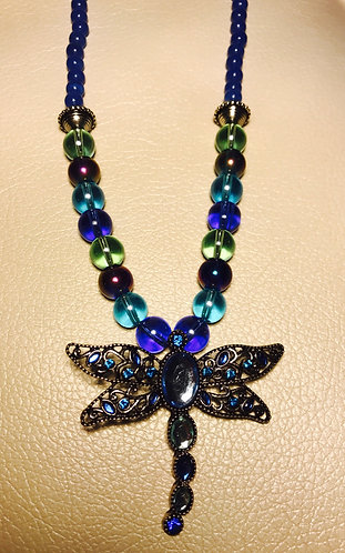 Blue Dragonfly Pendant Necklace & Earrings Set