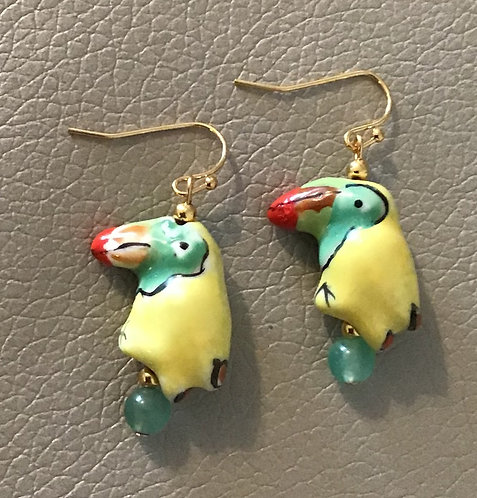Colorful Toucan Earrings - Yellow