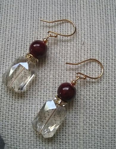 """Perfume Bottle"" Earrings - Dark Red"