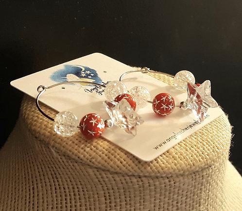 Clear Swarovski Crystal Star Hoop Earrings