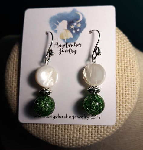 Green Crackle & Mother of Pearl Earrings