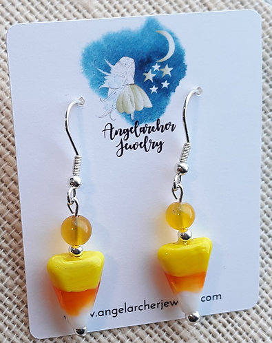 Candy Corn Earrings w/Yellow Agate
