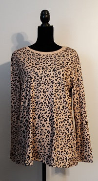 Long Sleeve Casual Top – Tan Leopard - Large