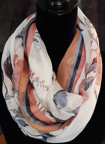 White/Multi Floral Infinity Scarf
