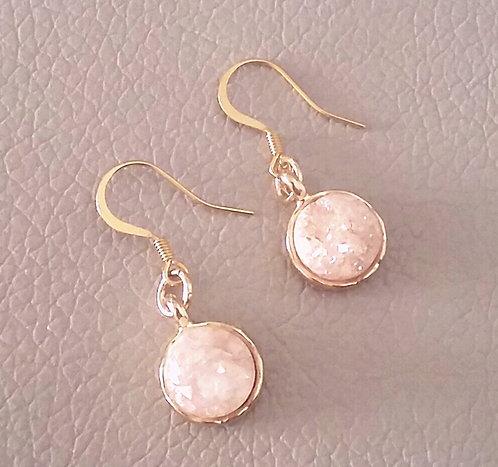 Peach Iridescent Agate Earrings