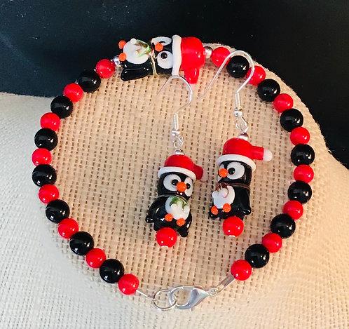 Christmas Penguin Bracelet & Earrings