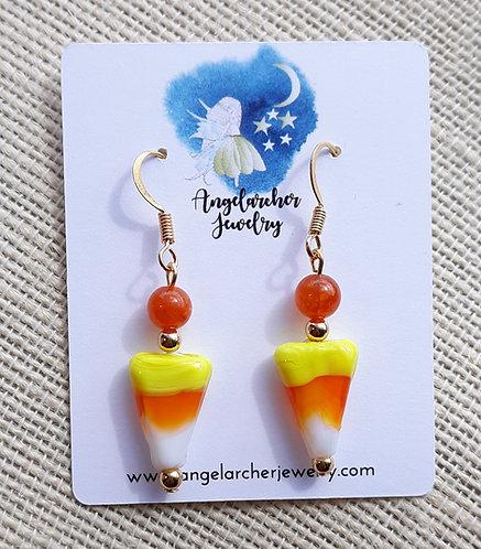 Candy Corn Earrings w/Orange Quartzite & GP Hooks