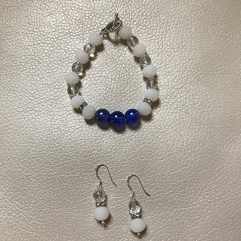 Royal Blue Glass Bracelet & Earrings Set