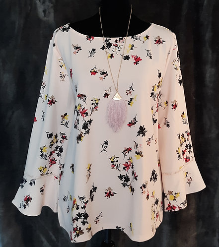 Blush Floral Flare Sleeve Top