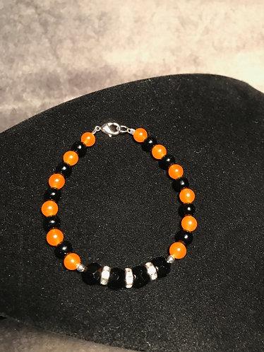 Orange & Black Rhinestone Rondelle Bracelet