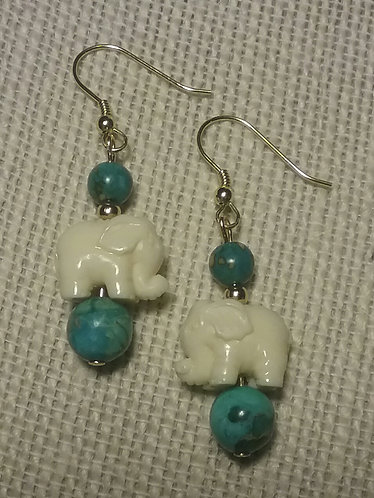 Turquoise Imperial Jasper Elephant Earrings #2