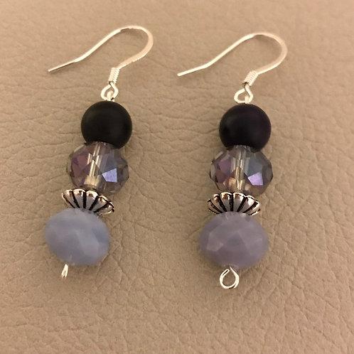 Purple Agate & Amethyst Glass Earrings