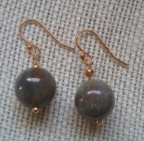 Gray/Taupe Agate Stone Earrings