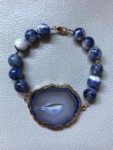 Blue Agate & Sodalite Stone Bracelet
