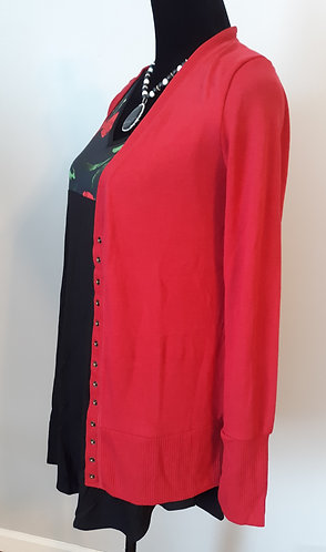 Snap Cardigan Sweater - Red