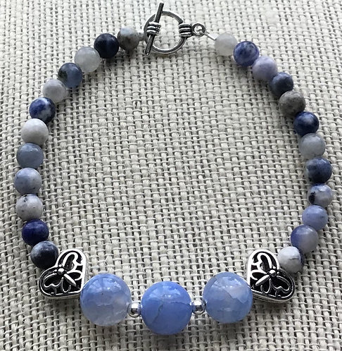 Light Blue Fire Agate Crackle Bracelet