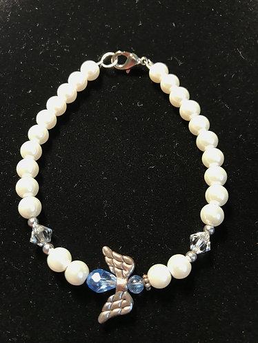 Angel Wing Bracelet - March Birthstone