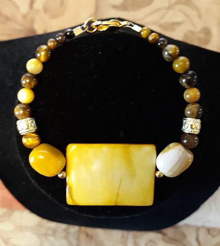 Amber Rectangle Shell & Tiger Eye Bracelet