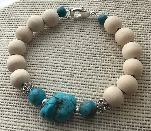 Natural Wood Bead Bracelet w/Turquoise Howlite