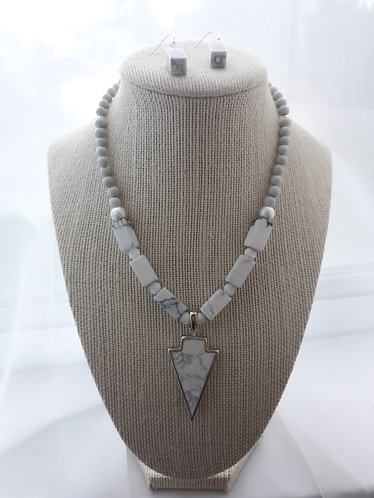White Howlite Arrowhead Necklace & Earrings Set
