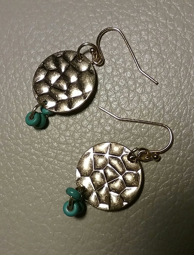 Hammered Disc Earrings w/Turquoise Beads