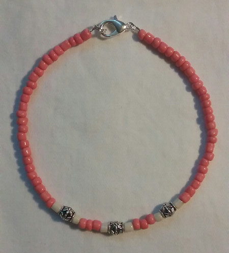 Coral & White Flower Anklet